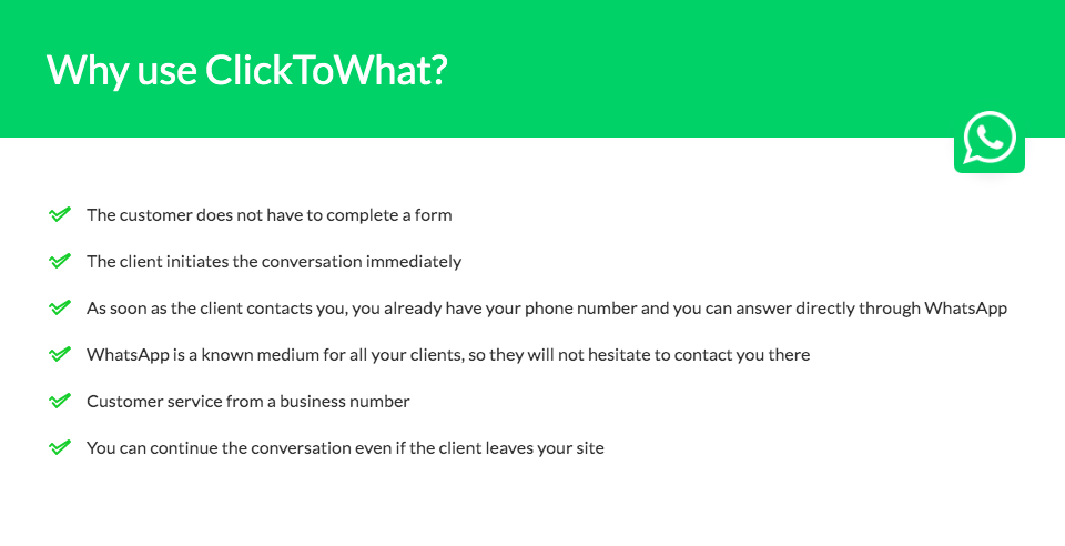ClicktoWhat features
